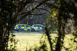 © Licensed to London News Pictures. 19/12/2017. Basildon, UK. Essex police guard the scene where a man was fatally attacked at Northlands Park, Pitsea, Essex. The attack happened about 5.30 pm on the 18th. The victim was pronounced dead at the scene. Photo credit : Simon Ford/LNP