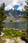 Shadow Lake in the Wind River Range, mountains in the Bridger Teton National Forest, Sublette County, Wyoming, USA.