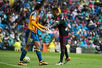 Valencia's Barragan and Alves during La Liga match. May 08,2016. (ALTERPHOTOS/BorjaB.Hojas)