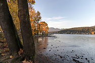 View of Barnet Inlet and the rocky shoreline at Rocky Point Park in Port Moody, British Columbia, Canada
