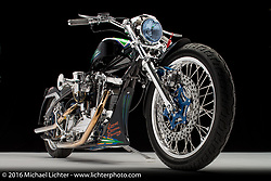 """Still Flyin"", a black drag style Sportster built by Sammy Newsom in Los Gatos, CA. Photographed by Michael Lichter during the Easyriders Bike Show in Sacramento, CA on January 9, 2016. ©2016 Michael Lichter."