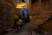 Local transporting goods on bicycle, Jaisalmer, Rajasthan, India
