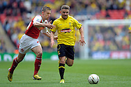 Burton Albion's Alex MacDonald makes a break ® .Skybet football league two play off final match , Burton Albion v Fleetwood Town at Wembley Stadium in  London on Monday 26th May 2014.<br /> pic by John Patrick Fletcher, Andrew Orchard sports photography.