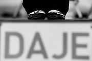 Lo slogan 'Daje' della campagna elettorale di Ignazio Marino, candidato sindaco di Roma, sul palco dell'ultimo comizio prima del ballottaggio a Piazza Farnese<br /> Roma - 7 giugno 2013. Matteo Ciambelli / OneShot