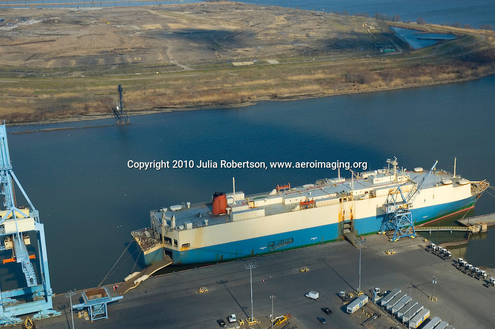 Aerial view of Hoegh Ugland Auto Liners  docked at the Port of Wilmington, Delaware