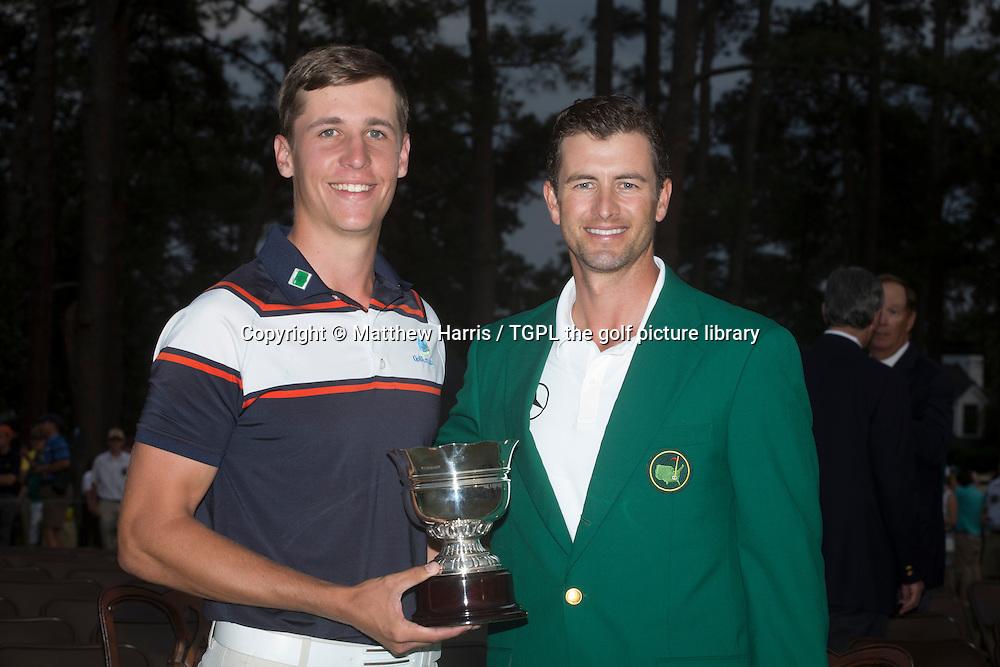 Adam SCOTT (AUS) and Oliver GOSS (AUS) the leading amateur during fourth round US Masters 2014,Augusta National,Augusta, Georgia,USA.