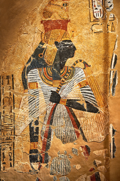 Egyptian painting on stucco of the defied queen Ahmose-Nofretari. 11152-1145BC, Thebes, Grab Nr 359. Neues  Museum, Berlin. Cat No AM2060 .<br /> <br /> If you prefer to buy from our ALAMY PHOTO LIBRARY  Collection visit : https://www.alamy.com/portfolio/paul-williams-funkystock/ancient-egyptian-art-artefacts.html  . Type -   Neues    - into the LOWER SEARCH WITHIN GALLERY box. Refine search by adding background colour, subject etc<br /> <br /> Visit our ANCIENT WORLD PHOTO COLLECTIONS for more photos to download or buy as wall art prints https://funkystock.photoshelter.com/gallery-collection/Ancient-World-Art-Antiquities-Historic-Sites-Pictures-Images-of/C00006u26yqSkDOM