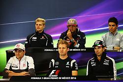 The FIA Press Conference (from back row (L to R)): Marcus Ericsson (SWE) Sauber F1 Team; Carlos Sainz Jr (ESP) Scuderia Toro Rosso; Esteban Ocon (FRA) Manor Racing; Esteban Gutierrez (MEX) Haas F1 Team; Nico Rosberg (GER) Mercedes AMG F1; Sergio Perez (MEX) Sahara Force India F1. <br /> 27.10.2016. Formula 1 World Championship, Rd 19, Mexican Grand Prix, Mexico City, Mexico, Preparation Day.<br /> Copyright: Batchelor / XPB Images / action press