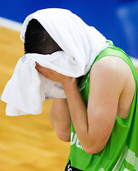 Alen Omic of Slovenia celebrates after winning the basketball match between National teams of Turkey and Slovenia in Qualifying Round of U20 Men European Championship Slovenia 2012, on July 17, 2012 in Domzale, Slovenia. Slovenia defeated Turkey 72-71 in last second of the game. (Photo by Vid Ponikvar / Sportida.com)