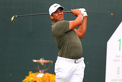 August 25, 2018 - Paramus, NJ, U.S. - PARAMUS, NJ - AUGUST 25:  Jhonattan Vegas.Venezuela of the Bolivarian Republic of Venezuela plays his shot from the first tee  during the third round of The Northern Trust on August 25, 2018 at the Ridgewood Championship Course in Ridgewood, New Jersey.   (Photo by Rich Graessle/Icon Sportswire) (Credit Image: © Rich Graessle/Icon SMI via ZUMA Press)