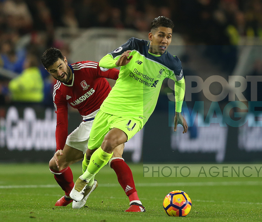Roberto Firmino of Liverpool during the English Premier League match at the Riverside Stadium, Middlesbrough. Picture date: December 14th, 2016. Pic Simon Bellis/Sportimage