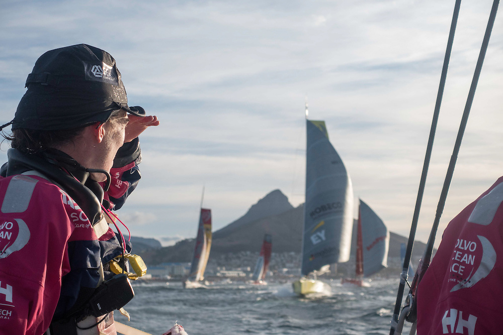 November 19, 2014. Leg 2 onboard Team SCA. Libby watches the rest of the fleet after taking off for Leg 2.