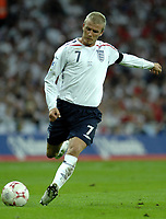 Photo: Richard Lane.<br />England v Brazil. International Friendly. 01/06/2007. <br />England's David Beckham strikes a free kick.