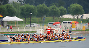 Shunyi, CHINA. GBR M8+,  Men's eights final, Gold medalist CAN M8+(b), LIGHT Kevin, RUTLEDGE Ben, BYRNES Andrew, WETZEL Jake<br /> HOWARD Malcolm, SEITERLE Dominic, KREEK Adam, HAMILTON Kyle and cox, PRICE Brian<br /> Silver medalist GBR M8+, (b), PARTRIDGE Alex, STALLARD Tom<br /> LUCY Tom, EGINGTON Richard, WEST Josh, HEATHCOTE Alastair<br /> LANGRIDGE Matt, SMITH Colin and Cox, NETHERCOTT Acer, Bronze at the finishing line, men's eight final,  The 2008 Olympic Regatta, Shunyi Rowing Course.  17/08/2008 [Mandatory Credit: Peter SPURRIER, Intersport Images
