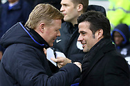 Everton Manager Ronald Koeman (l) and Hull City Manager Marco Silva shake hands prior to kick off. Premier league match, Everton v Hull city at Goodison Park in Liverpool, Merseyside on Saturday 18th March 2017.<br /> pic by Chris Stading, Andrew Orchard sports photography.