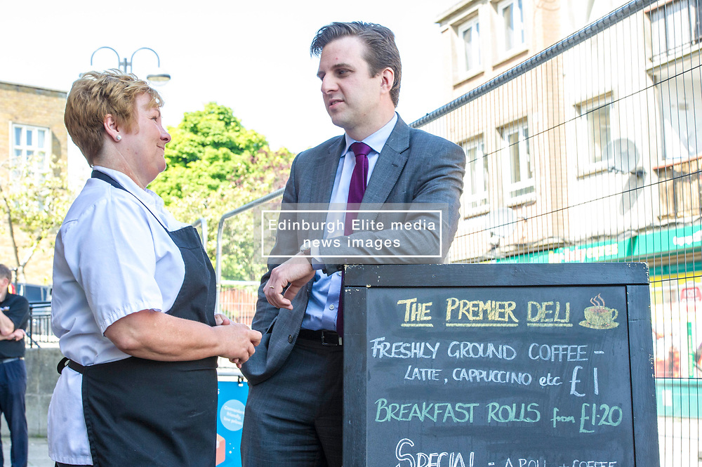 Pictured: Daniel Johnston discussed his bill with  Premier-Broadway Convenience Store partner Linda Williams<br /> Today Labour MSP Daniel Johnson met with workers at Premier-Broadway Convenience Store in Oxgangs Edinburgh to mark lodging his Member's Bill to protect shop workers in Scotland. <br /> <br /> Ger Harley; Edinburgh Elite media