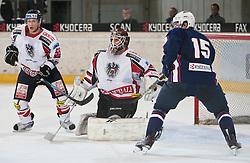 27.04.2011, TWK Arena, Innsbruck, AUT, IIHF WM 2011, Testspiel, Österreich vs USA, im Bild Robert Lukas (AUT, #55, EHC LIWEST Linz), Jürgen Penker (AUT, #29, EV Vienna Capitals) und Craig Smith (USA, #15, Univ. of Wisconsin, WCHA)  during friendly ice hockey match between Austria and USA, in preparation of IIHF world Championship 2011 at TWK Arena in Innsbruck Austria on 27/4/2011. EXPA Pictures © 2011, PhotoCredit: EXPA/ J. Groder