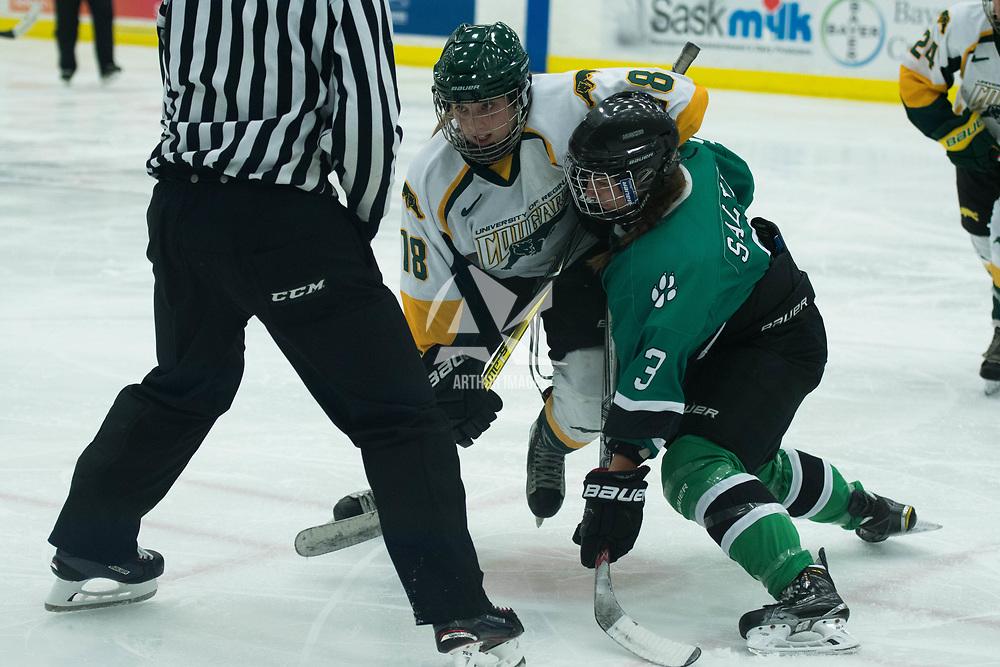 1st year forward Jordan Kulbida (18) of the Regina Cougars in action during the Women's Hockey Homeopener on October 7 at Co-operators arena. Credit: Arthur Ward/Arthur Images