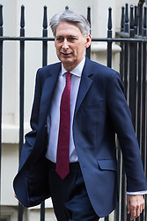 Downing Street, London, March 7th 2017. Chancellor of the Exchequer Philip Hammond leaves No.11 Downing street for a meeting ahead of his Budget to be delivered on March 8th.