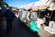 An open-air market in Nukus, Uzbekistan.