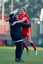 ZENICA, BOSNIA AND HERZEGOVINA - Tuesday, November 28, 2017: Wales' Rhiannon Roberts and manager Jayne Ludlow celebrate after the 1-0 victory over Bosnia and Herzegovina during the FIFA Women's World Cup 2019 Qualifying Round Group 1 match between Bosnia and Herzegovina and Wales at the FF BH Football Training Centre. (Pic by David Rawcliffe/Propaganda)