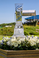 May 17, 2018 - Dallas, TX, U.S. - DALLAS, TX - MAY 17: The trophy for the winner is displayed during the first round on May 17, 2018 at the 50th AT&T Byron Nelson at the Trinity Forest Golf Club in Dallas, Texas. (Photo by Matthew Pearce/Icon Sportswire) (Credit Image: © Matthew Pearce/Icon SMI via ZUMA Press)