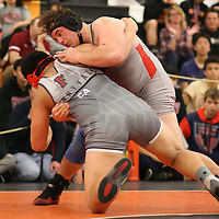 Alexander Liddle of Saratoga and Cohle Feliciano of Fremont in the 2018 SCVAL Wrestling Finals (285 lb)(Photo by Bill Gerth)