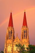 A storm passes behind St. Helena Cathedral in Helena, Montana.