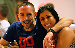 "17.05.2014, T Com, Berlin, GER, DFB Pokal, Bayern Muenchen Pokalfeier, im Bild Franck Ribery and<br /> <br /> Wahiba Ribery Franck Ribery, Wahiba Ribery, // during the FC Bayern Munich ""DFB Pokal"" Championsparty at the T Com in Berlin, Germany on 2014/05/17. EXPA Pictures © 2014, PhotoCredit: EXPA/ Eibner-Pressefoto/ EIBNER<br /> <br /> *****ATTENTION - OUT of GER*****"
