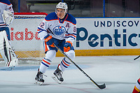 PENTICTON, CANADA - SEPTEMBER 8: Caleb Jones #82 of Edmonton Oilers skates against the Calgary Flames on September 8, 2017 at the South Okanagan Event Centre in Penticton, British Columbia, Canada.  (Photo by Marissa Baecker/Shoot the Breeze)  *** Local Caption ***