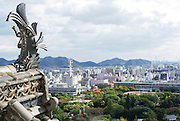 Himeji Castle (AKA White Egret Castle and White Heron Castle) Himeji, Japan View of the city