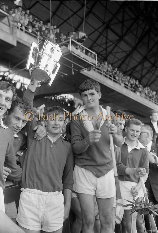 04/09/1966<br /> 09/04/1966<br /> 4 September 1966<br /> All-Ireland Senior Hurling Final: Kilkenny v Cork at Croke Park, Dublin.<br /> Cork Captain, G. McCarthy, and team mates hold high the Liam McCarthy Cup after the presentation.