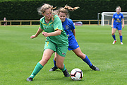 Central Football's Aimee Atkins under pressure in the National womens league football match, Central Football v Southern United, Massey University, Palmerston North, Sunday, December 02, 2018. Copyright photo: Kerry Marshall / www.photosport.nz