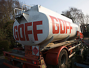 Goff oil tanker vehicle making domestic delivery, Suffolk, England