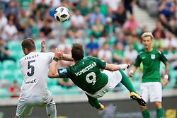Marko Krajcer of NK Krsko and Adres Vombergar of NK Olimpija Ljubljana during football match between NK Olimpija Ljubljana and NK Krsko in Round #35 of Prva liga Telekom Slovenije 2017/18, on May 23, 2018 in SRC Stozice, Ljubljana, Slovenia. Photo by Urban Urbanc / Sportida