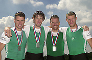 FISA World Cup Rowing Munich Germany..Photo Peter Spurrier 29/05/2004. Finals day..IRL LM4- Bow Richard Archibald, Eugene Coakley, Naill O'Toole and Paul Giffen [Mandatory Credit: Peter Spurrier: Intersport Images].
