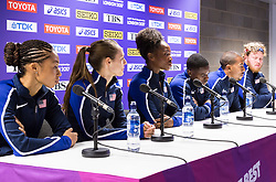 London, 03 August 2017. L-R Allyson Felix, Jenny Simpson, Dalilah Muhammad, Christian Coleman, Christian Taylor, and Ryan Crouser at the Team USATF press conference ahead of the IAAF World Championships London 2017 at the London Stadium.