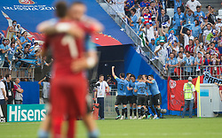 June 25, 2018 - Samara, Russia - Edinson Cavani of Uruguay celebrates with teammates after scoring his team's third goal during the 2018 FIFA World Cup Russia group A match between Uruguay and Russia at Samara Arena on June 25, 2018 in Samara, Russia. (Credit Image: © Foto Olimpik/NurPhoto via ZUMA Press)