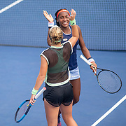 2019 US Open Tennis Tournament- Day Five.  Coco Gauff and Catherine McNally of the United States celebrate victory against Julia Goerges of German and Katerina Siniakova of the Czech Republic in the Women's Doubles Round One match on a packed Court Five at the 2019 US Open Tennis Tournament at the USTA Billie Jean King National Tennis Center on August 30th, 2019 in Flushing, Queens, New York City.  (Photo by Tim Clayton/Corbis via Getty Images)