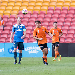 BRISBANE, AUSTRALIA - MARCH 25: Nathan Konstandopoulos heads the ball during the round 5 NPL Queensland match between the Brisbane Roar and SWQ Thunder at Suncorp Stadium on March 25, 2017 in Brisbane, Australia. (Photo by Patrick Kearney/Brisbane Roar)