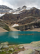 View of stunning Oesa Lake with  Glacier Peak in the background, in Yoho National Park, near Field, British Columbia, Canada