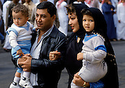 Young family in streets of Riyadh in Saudi Arabia