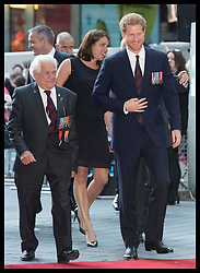 July 13, 2017 - London, London, United Kingdom - Image licensed to i-Images Picture Agency. 13/07/2017. London, United Kingdom. Prince Harry with Dunkirk veteran George Wagner as they arrive at the world premiere of Dunkirk in London Picture by Stephen Lock / i-Images (Credit Image: © Stephen Lock/i-Images via ZUMA Press)