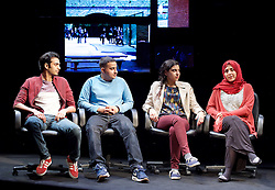 Another World <br /> Losing Our Children To Islamic State <br /> directed by Nicholas Kent <br /> at Temporary Theatre, National Theatre, Southbank, London, Great Britain<br /> Press photocall <br /> 14th April 2016 <br /> <br /> <br /> <br /> Zara Azam / Lara Sawalha / Ronak Patani / Fashid Rokey <br /> as students <br /> <br /> <br /> <br /> Photograph by Elliott Franks <br /> Image licensed to Elliott Franks Photography Services