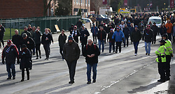 Supporters make their way to the game between Aston Villa and Birmingham City