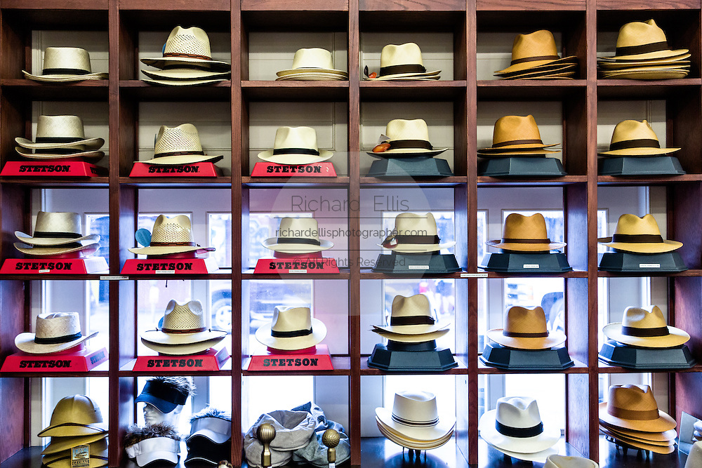 Panama straw hats on display at a shop in the Old Market in historic Charleston, SC.