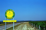 Chablis: sign indicating tasting, sales and delivery at the winery of Jean Marc Brocard, one of the best known producers