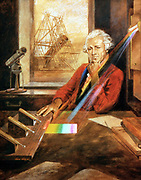 William Herschel (1738-1822) German-born English astronomer, investigating heating effect of infra-red (published 1800) In background is Herschel's 40ft reflecting telescope. Artist's reconstruction
