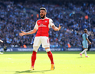 Arsenal's Olivier Giroud celebrates his sides opening goal during the FA Cup Semi Final match at Wembley Stadium, London. Picture date: April 23rd, 2017. Pic credit should read: David Klein/Sportimage