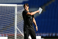 Chris Coleman, the Wales manager © gestures during the Wales football team training at the Cardiff city Stadium in Cardiff , South Wales on Friday 1st September 2017.  the team are preparing for their FIFA World Cup qualifier home to Austria tomorrow.  pic by Andrew Orchard, Andrew Orchard sports photography